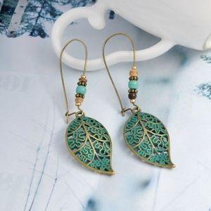 Jewelry - Patina Beaded Leaf Earrings